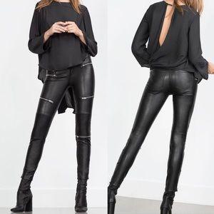 008fe8ea Zara Pants   On Hold Faux Leather Biker Trousers Xs   Poshmark