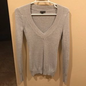 Express gray v-neck sweater