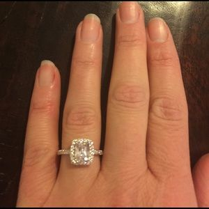 Jewelry - Square Cut Sterling Silver Engagement Ring
