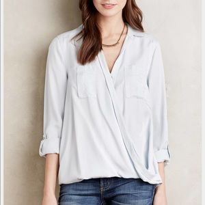 anthro high-low surplice blouse