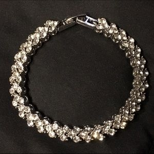 White Topaz CZ & 18K White GP Tennis Bracelet