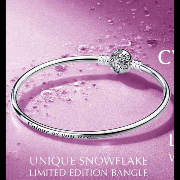 Pandora limited edition heart of winter cz bangle bracelet.