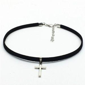 pearl street Jewelry - Cross choker silver suede choker cross choker