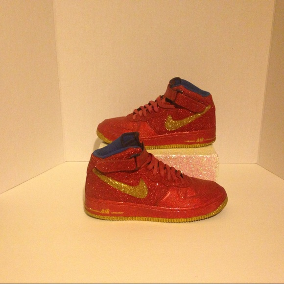 Custom Glitter Red and Gold Nike Air Force Ones