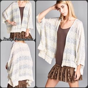 SALE‼️ Striped Fringe Hem Kimono Cardigan Sweater