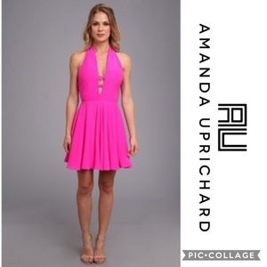 Amanda Uprichard Fuschia Backless Halter Dress