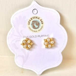 Spartina 449 Jewelry - NWT Spartina 449 Gold, Pearl & CZ Studs