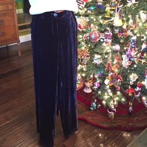 Johnny Was Pants - Johnny Was royal purple velvet palazzo pant (NWOT)