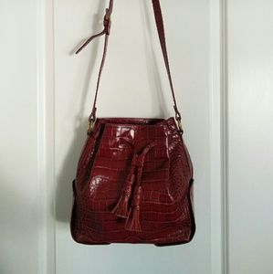 Zara leather burgundy bucket bag