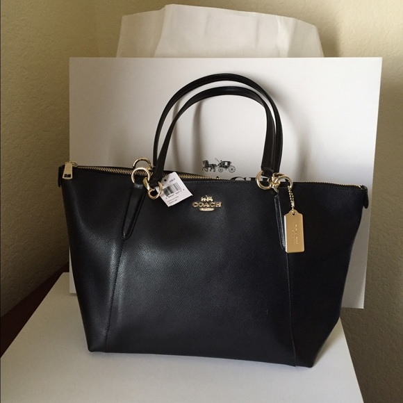 COACH AVA TOTE IN CROSSGRAIN LEATHER BLACK 5a601ee305440