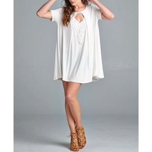 |new| Soft Oversized White Swingy Blouse with Lace