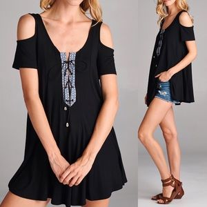 Soft Oversized Cold Shoulder LaceUp Top