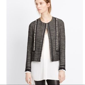 Final Price Vince Tweed Zip Leather Trim Jacket