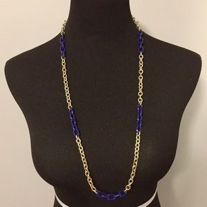 J.Crew Gold & Blue Link Infinity Necklace