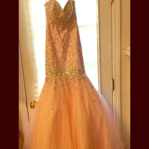 Dresses & Skirts - Blush Pink Mermaid Gemstones Gown