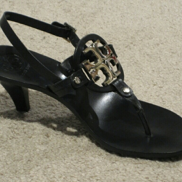 0dbd354a6a59 Tory Burch Holly 2 Black Leather Heels Sandals 8.5
