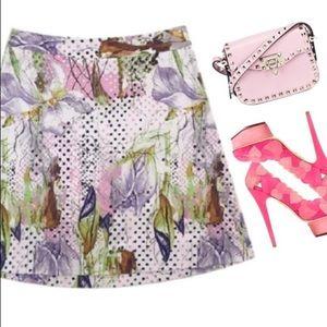 Iris print A line skirt LANE BRYANT floral pastel