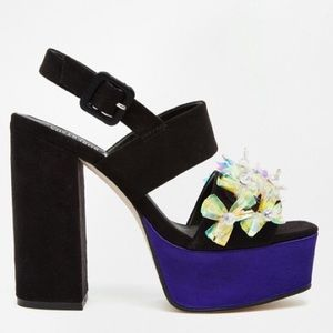 A V Robertson for ASOS platform heels purple satin