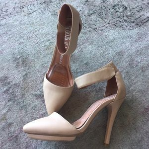 Jeffrey Campbell Shoes - Jeffrey Campbell beige ankle strap solitaire heel