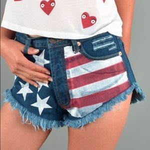 Pants - American Flag Shorts High Waisted