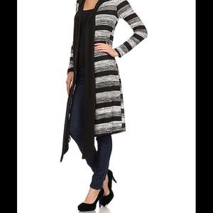NWOT Black & White Stripe Long Cardigan