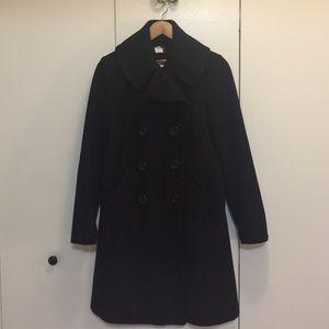 Black Jcrew Double Breast Long Coat. Size 4