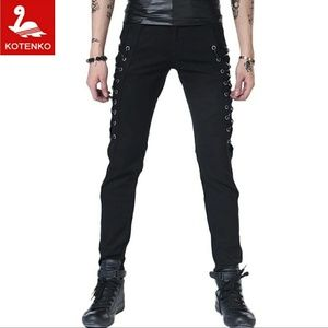 Black Skinny Side Lace Pants Men's Unisex Size 28