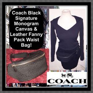Coach Black Signature Canvas Fanny Pack Waist Bag!