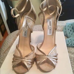 Jimmy Choo SZ 36.5 glitter & lace strappy sandal