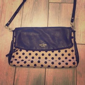 Kate Spade linen and leather fold over purse