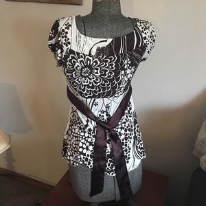 Heart Soul Tops - Brown and cream blouse with tie back