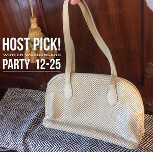 Vintage Whiting & Davis Cream Mesh Shoulder Bag