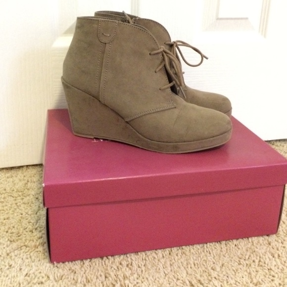43 merona shoes merona taupe wedge booties from