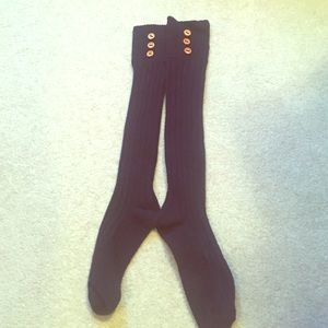 Xhilaration Accessories - NWOT Navy Blue Boot Socks with Button Detail