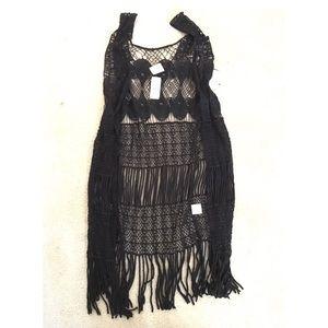 LF Jackets & Blazers - LF crochet fringe vest NWT