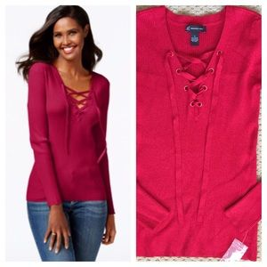 INC Red Lace-Up Ribbed Sweater 
