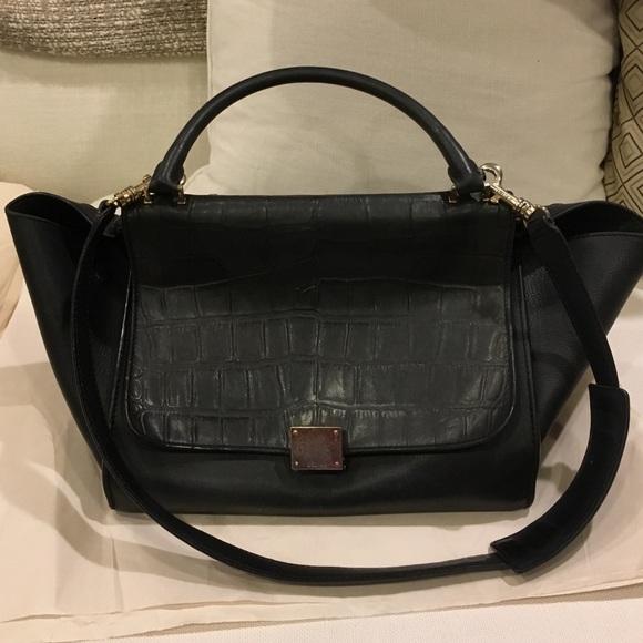 5408bdddb73a Celine Handbags - SALE Celine black croc embossed trapeze