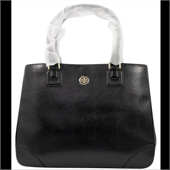 1746cd276b0d Tory Burch Robinson Black Saffiano Leather Tote