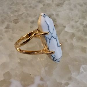 Marble Natural Stone Hex Gold Ring