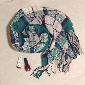 Aerie Green, White and Pink Blanket Scarf