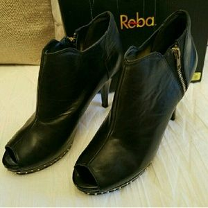Reba Shoes - Reba leather peep toe booties