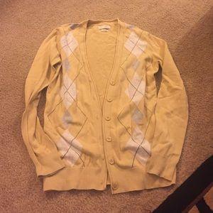 Van Heusen Sweaters - Yellow argyle cardigan size XS