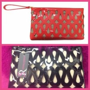 Coral/Blk SondraRoberts Perforated Clutch
