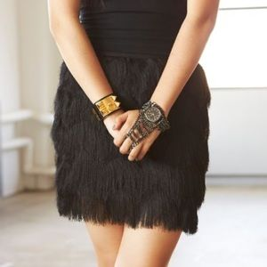 Black Fringe Party Skirt