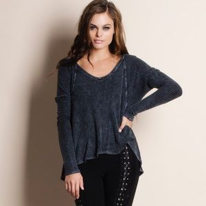 Waffle Knit Long Sleeve Top