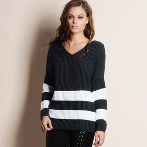 Bare Anthology Sweaters - Two Stripe Knit Sweater