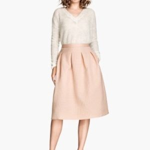 H&M Textured Blush Midi Skirt
