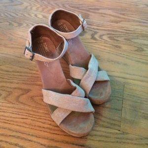 TOMS Beige Wedge Sandals