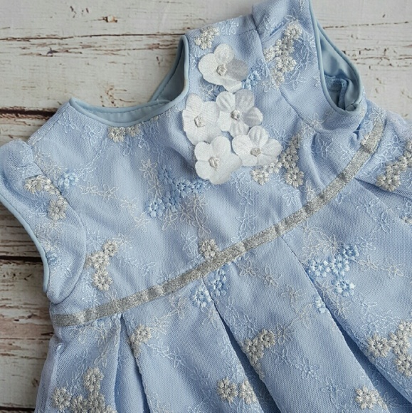 Laura Ashley Dresses London Blue Silver Baby Girl Dress Poshmark