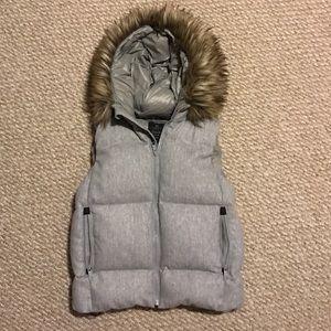Gap puffy vest with fur hood.